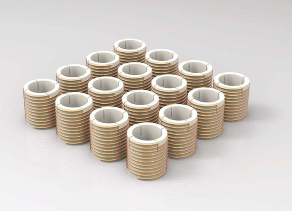 A metamaterial array composed of helical resonators (Photo courtesy of Boston University).