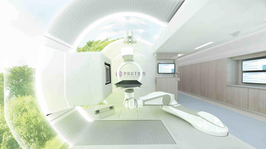Image: The Radiance330 proton therapy system treatment room (Photo courtesy of ProTom International).