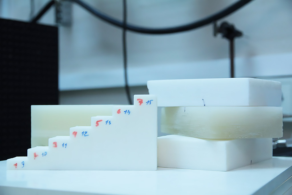 Image: Plastic collimator samples made using 3D printing (Photo courtesy of TPU)
