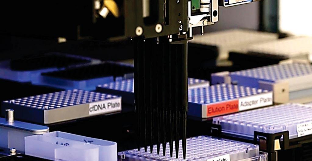 Машина с пипетками позволяет ученым из лаборатории Karius обрабатывать образцы крови в течение одного дня (фото любезно предоставлено Гамильтоном (Hamilton)).