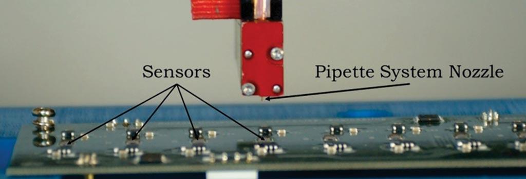Пьезоэлектрически управляемая система пипеток используется в качестве недорогого средства для обнаружения биологических молекул, связанных с конкретными заболеваниями, инфекциями или другими медицинскими состояниями (фото любезно предоставлено Университетом Пердью).