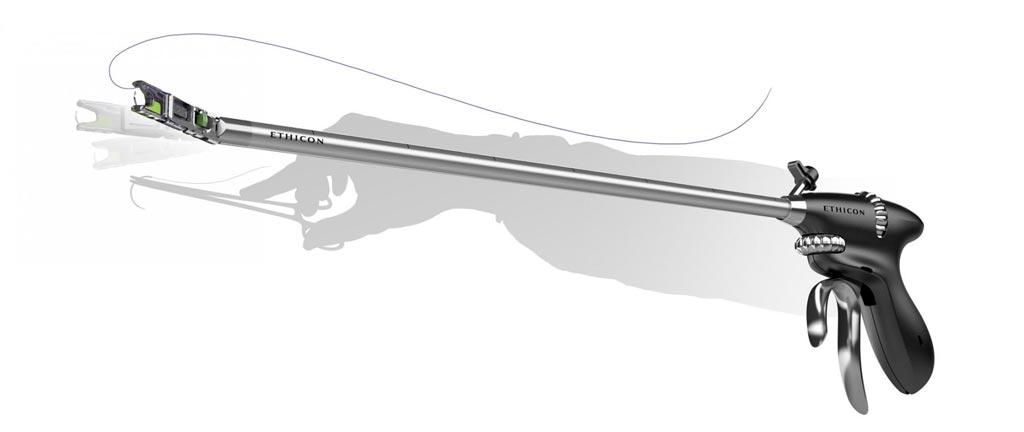 Сшивающее устройство ProxiSure помогает лапароскопическому наложению швов (фото любезно предоставлено Ethicon).