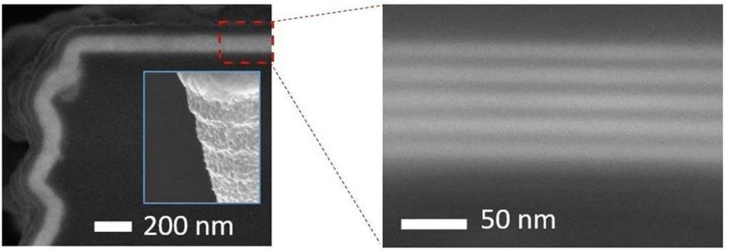 Изображения конформного ALD-покрытия по краям и углам силикона, полученные с помощью сканирующего электронного микроскопа (фото любезно предоставлено Picosun).
