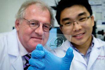 Профессор Бернхард Бем (Bernhard Boehm) и д-р Хоу Хань Вэй (Hou Han Wei) демонстрируют набор быстрого тестирования воспаления у больных сахарным диабетом (фото любезно предоставлено Наньянгским технологическим университетом (Nanyang Technological University)).