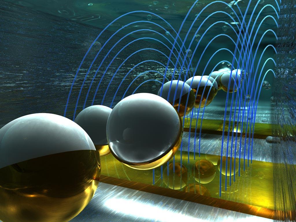 Визуализация микрочастиц, протекающих по каналу и проходящих через электрические поля, где они обнаруживаются электронным способом и сканируются при помощи штрих-кодирования (фото любезно предоставлено Эллой Марущенко и Александром Токаревым, Ella Maru Studios).