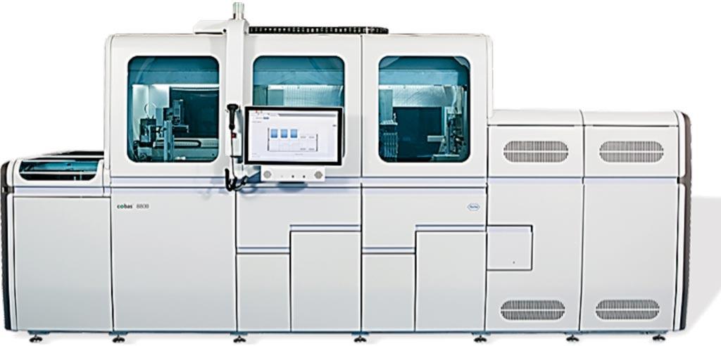 Полностью интегрированная и автоматизированная система cobas 8800 для подготовки пробы и выполнения полимеразных цепных реакций в режиме реального времени (фото любезно предоставлено компанией Roche).