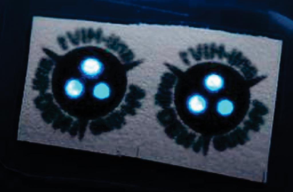 Крупный план светящейся в темноте полоски, содержащей две копии теста. Три светящиеся точки на тесте показывают, что можно проверить три разных антитела в одном тесте (фото любезно предоставлено Бартом ван Овербиком/Bart van Overbeeke).